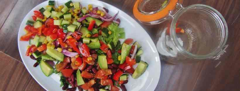 vegetarian Mexican bean salad in a kilner jar