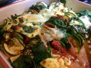 spinach and ricotta courgetti bake