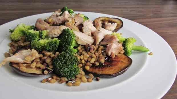 Chicken Broccoli and Aubergine Salad with Thai grains