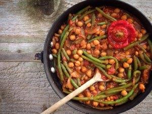 chickpea green bean chilli stew
