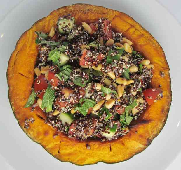 Kabocha Squash stuffed with black quinoa