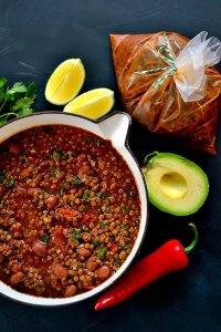 slow cooked borlotti bean chilli