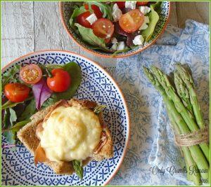 2 Croque Madame w asparagus