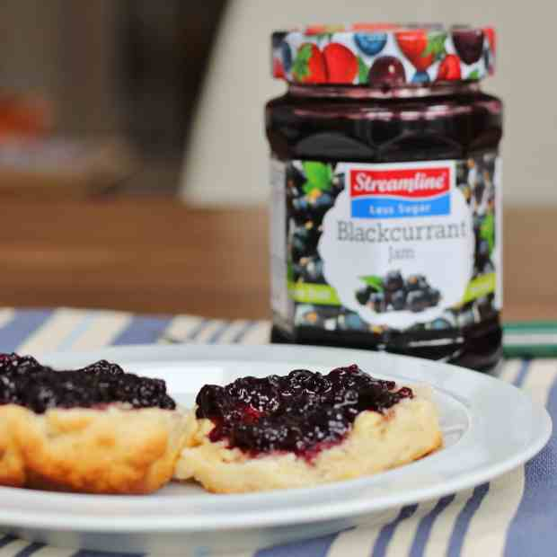 Streamline blackcurrant jam and scone