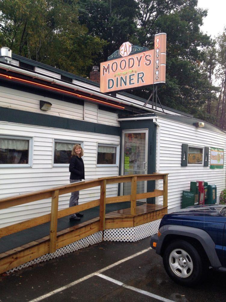 Lanita entering Moody's Diner, Waldoboro Maine.