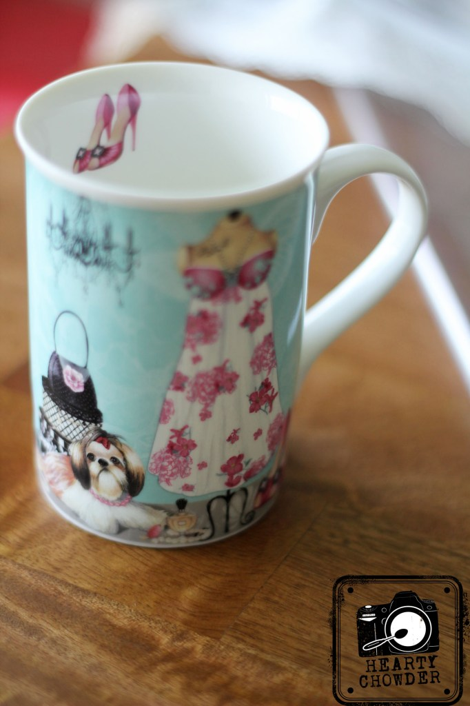 """This very stylish and delicate """"mup"""" (a container in between the size of a cup and a mug) was a Christmas present from Tita Pinky.  Makes me smile every time I drink my """"mup"""" of hot morning beverage."""