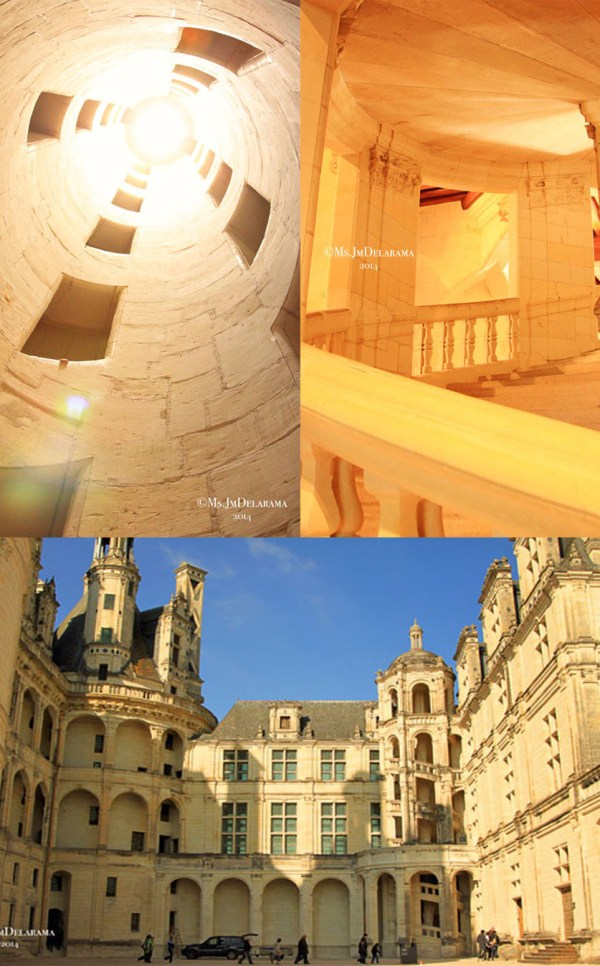 The double-helix staircase that they say Leonardo Da Vinci helped in desiging at Chateau de Chambord