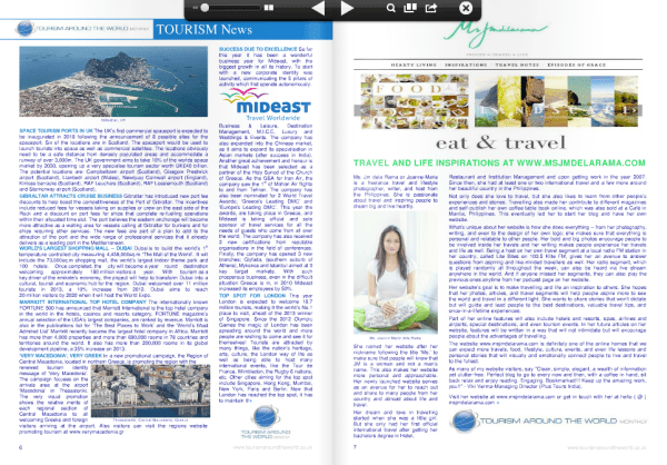 Visit Tourism Around the World and check out their August e-journal issue. :)