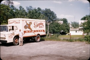 Ken Bolzman With 1957 Ford C-900 Tilt Cab Delivery Truck on Northeast Corner of Brewery