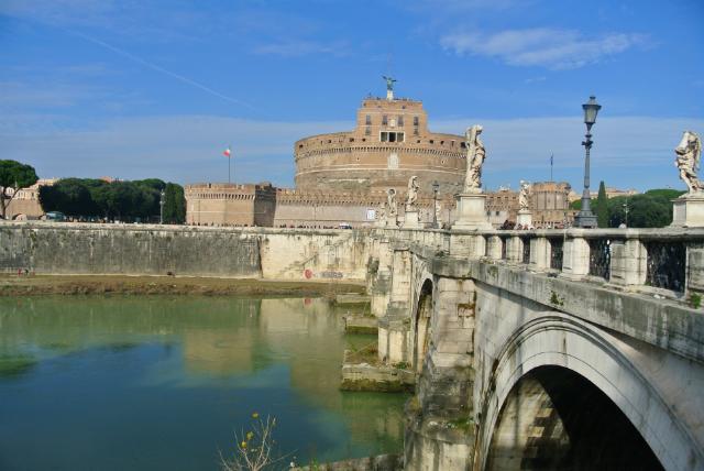 outside Castel St Angeli in Rome