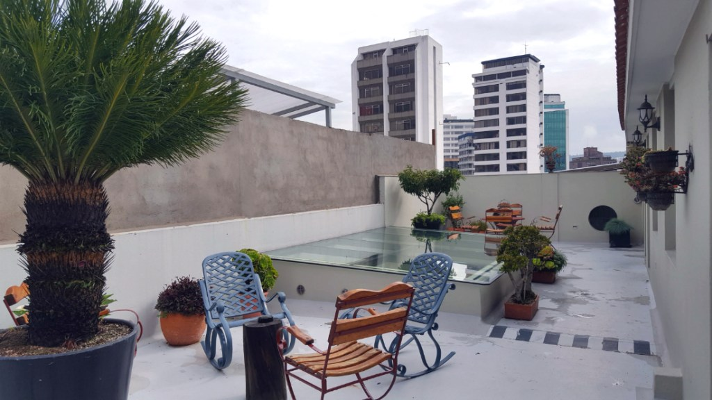 rooftop terrace at the Casa Joaquin Boutique Hotel in Quito