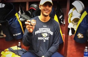 Seth Jones with first goal puck (Austin Stanley) BANNER