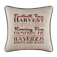 Harvest Football Time Embroidered Throw Pillow