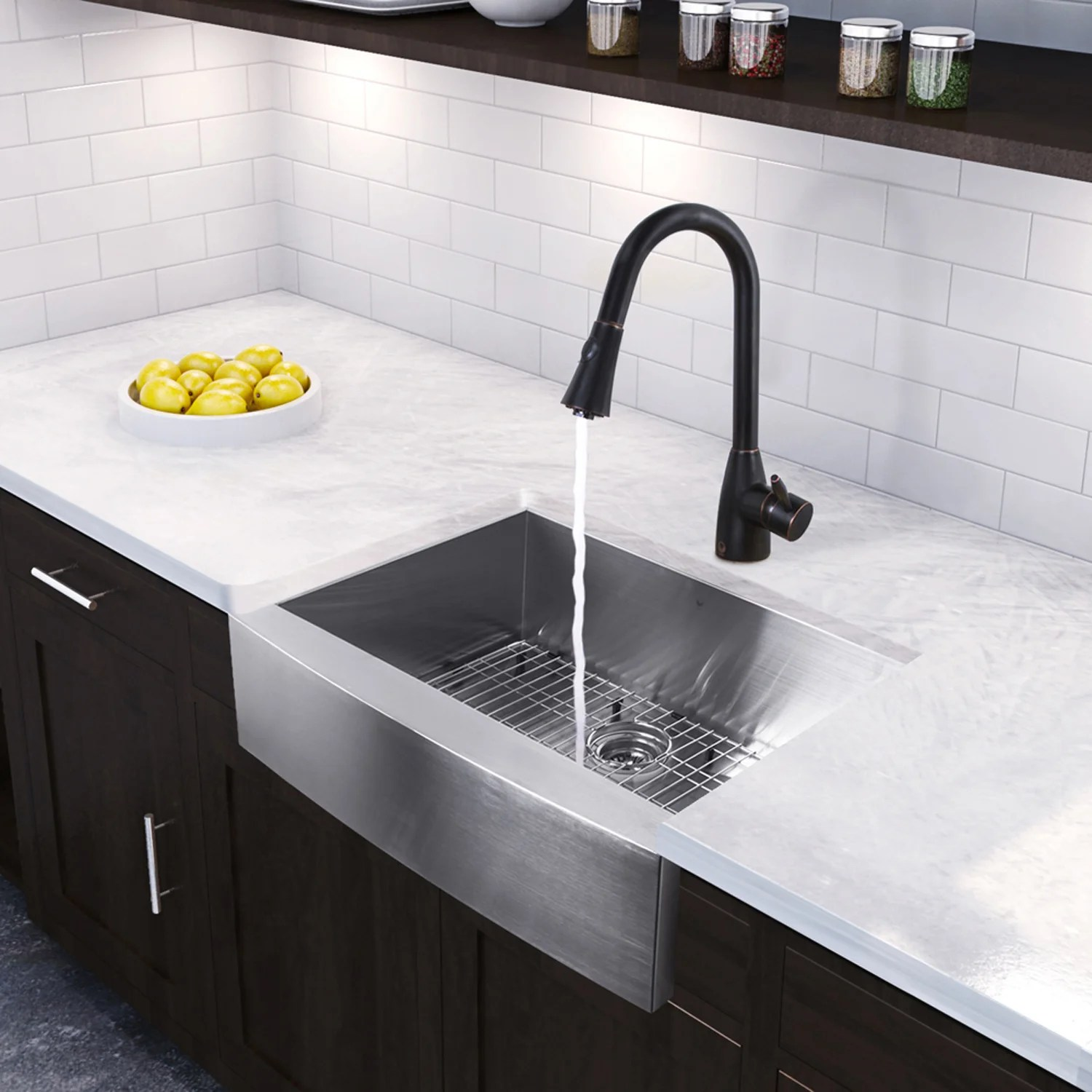 Vigo 30 inch Farmhouse Apron Single Bowl 16 Gauge Stainless Steel Kitchen Sink with Aylesbury Antique Rubbed Bronze Faucet Grid and Strainer VG15373