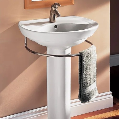 Ravenna Vitreous China 25inch Pedestal Bathroom Sink with Overflow