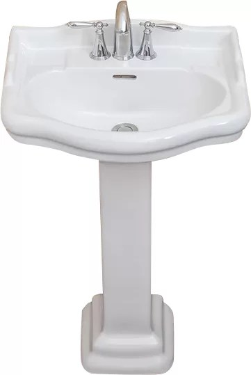 Roosevelt Vitreous China 22inch Pedestal Bathroom Sink with Overflow