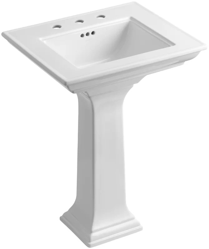 Memoirs® Ceramic 25inch Pedestal Bathroom Sink with Overflow
