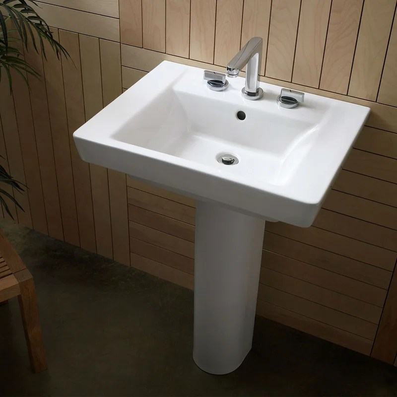 Boulevard Vitreous China 24inch Pedestal Bathroom Sink with Overflow