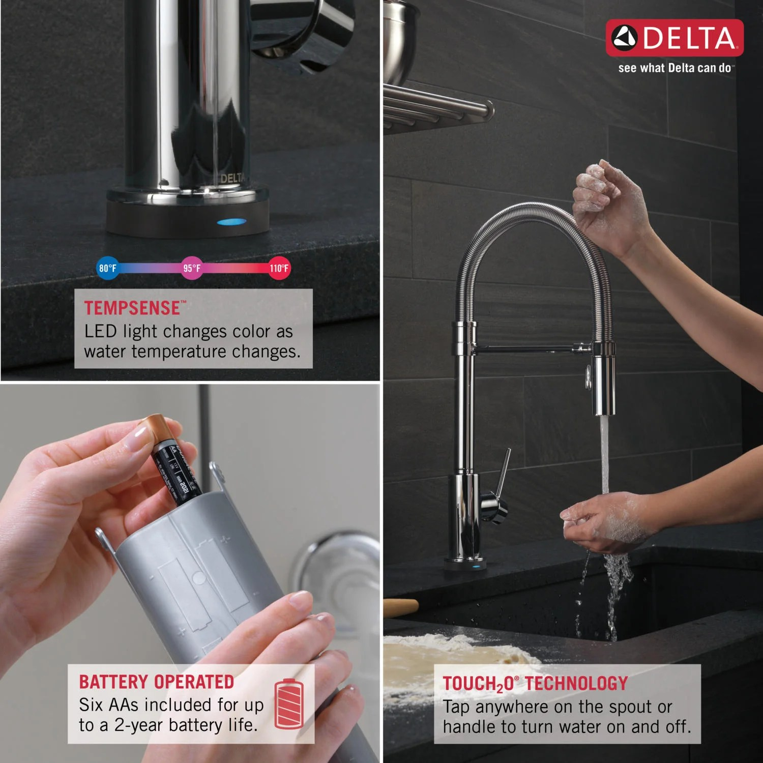 Delta Trinsic Pro Single Handle Deck Mounted Pull Down Kitchen Faucet with Touch2O Technology and Spring Sprout