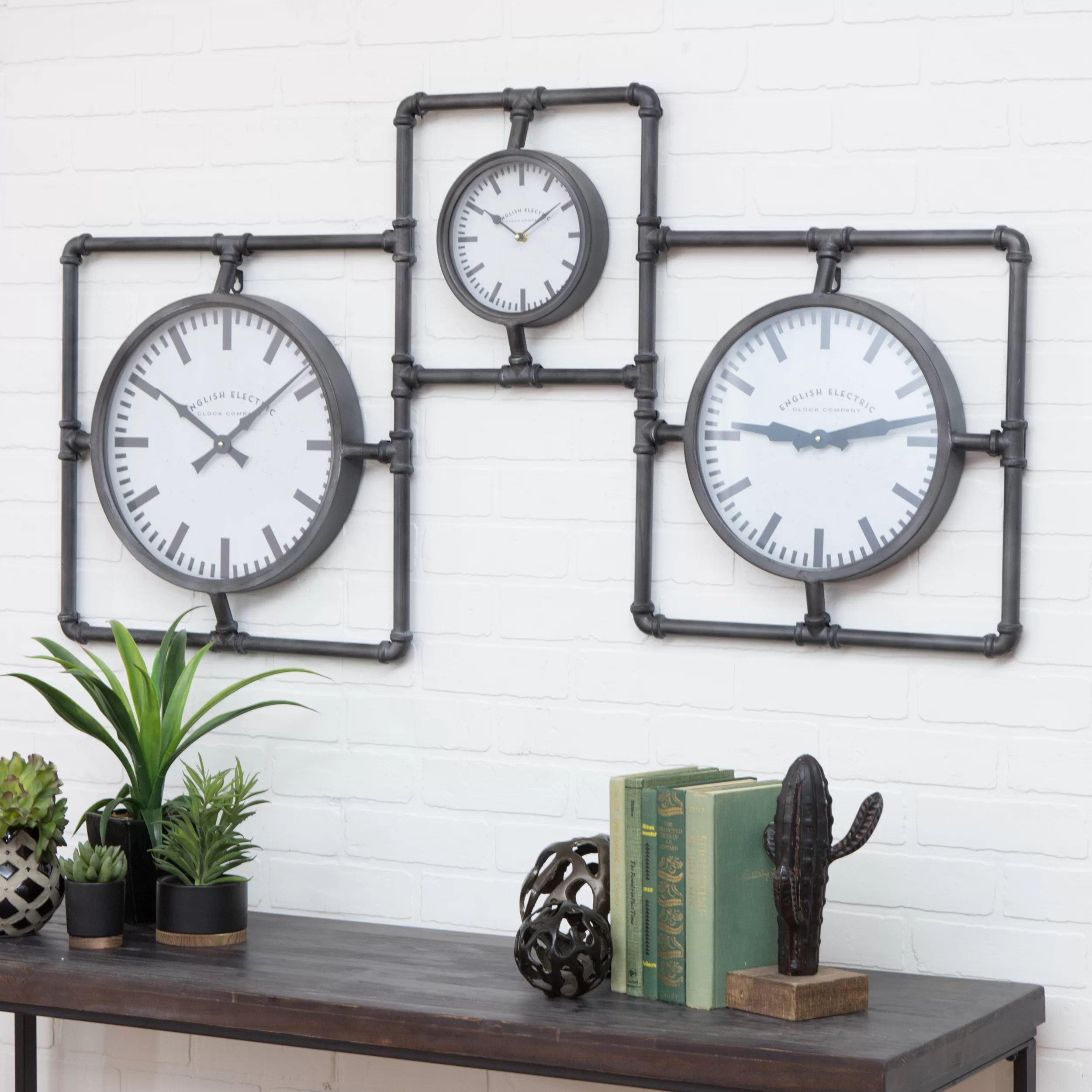 Astounding Diller Industrial 3 Face Wall Clock Industrial Wall Clock Nz Industrial Wall Clock Uk furniture Wall Clock Industrial
