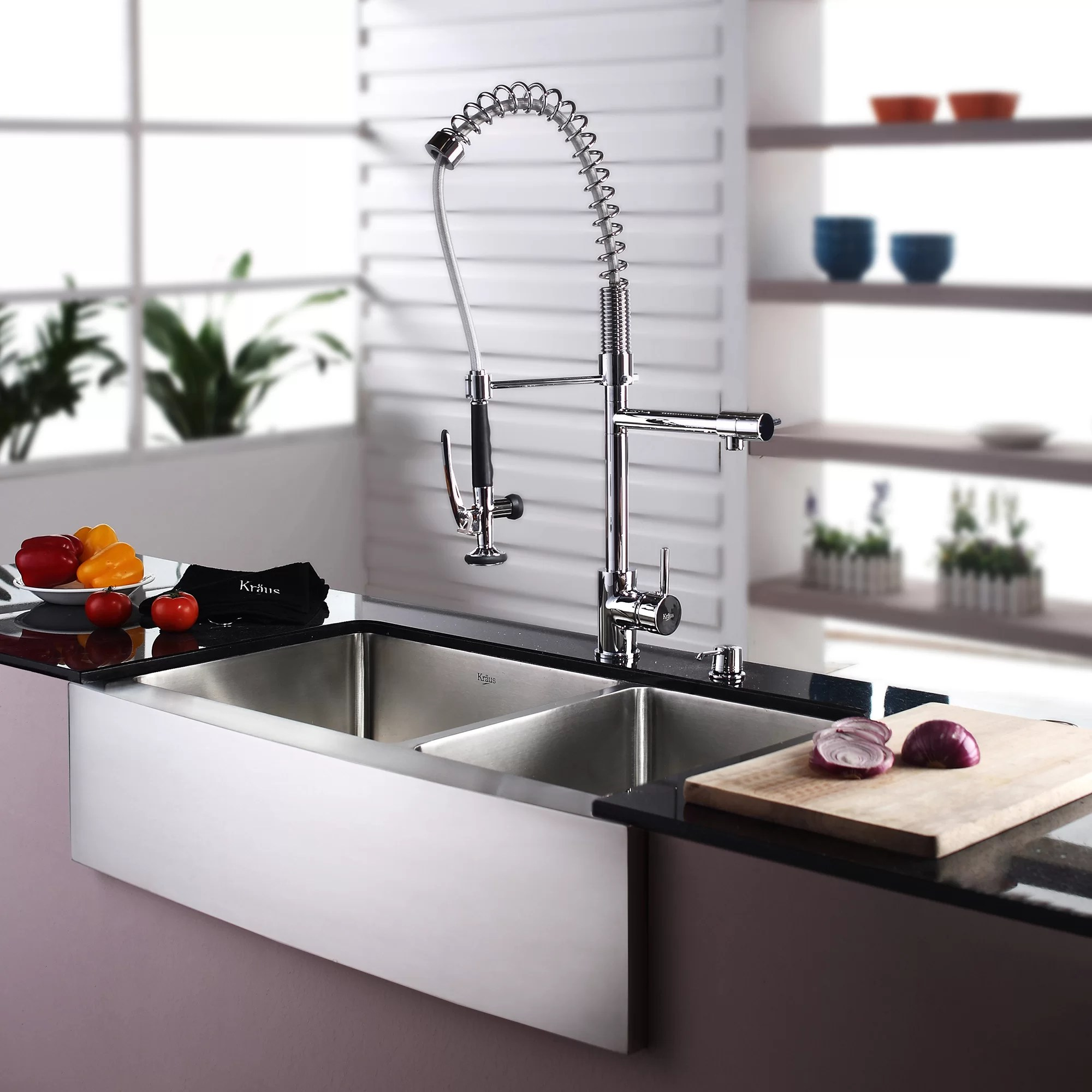 Kraus Stainless Steel 35.9 x 20.75 8 Piece Double Basin Farmhouse Kitchen Sink Set with Kitchen Faucet and Soap Dispenser