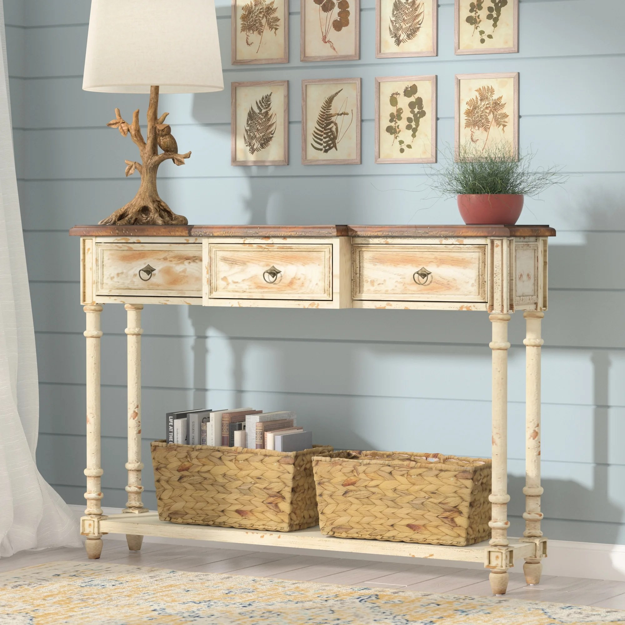 console sofa tables c kitchen console table Eleanor 3 Drawer Console Table