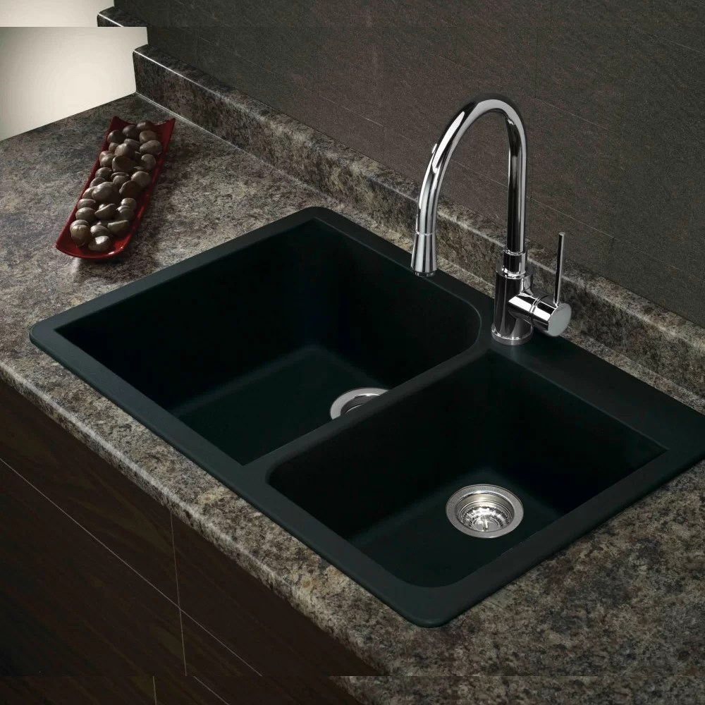 Transolid Radius 33 x 22 Granite Double Offset Drop in Kitchen Sink