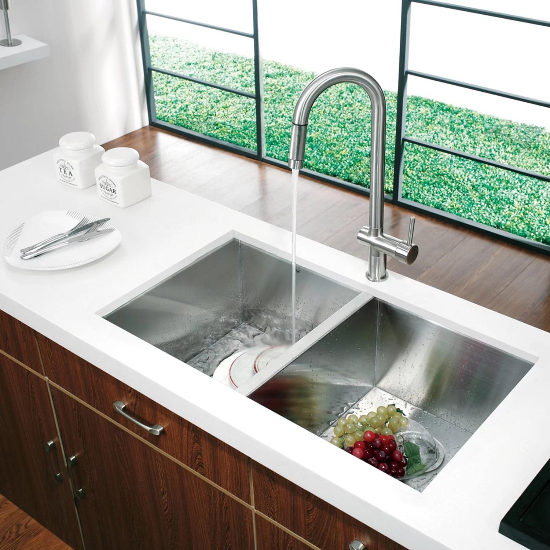 VIGO Alma 32 inch Undermount 50 50 Double Bowl 16 Gauge Stainless Steel Kitchen Sink