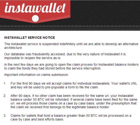 Instawallet service notice