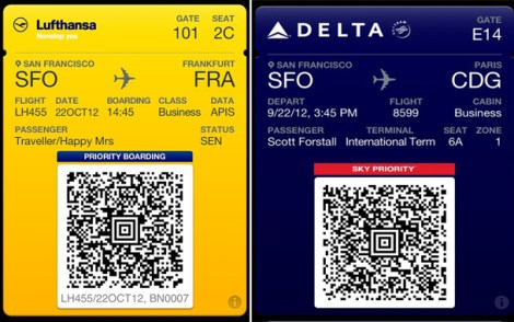 Passbook Apple app boarding pass