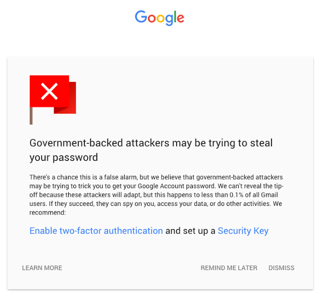 Google state-sponsored hacking notifications 2