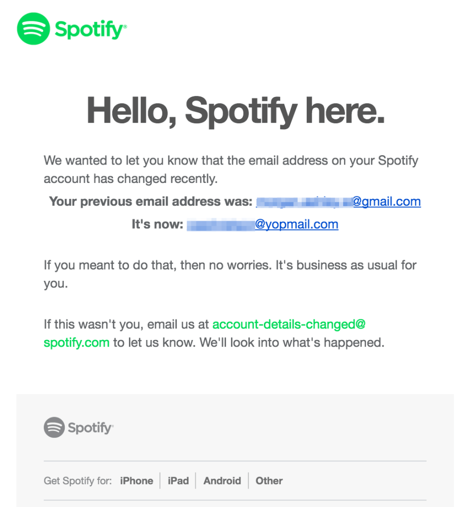 Spotify email changed