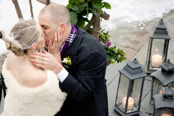 Vermont winter wedding kiss