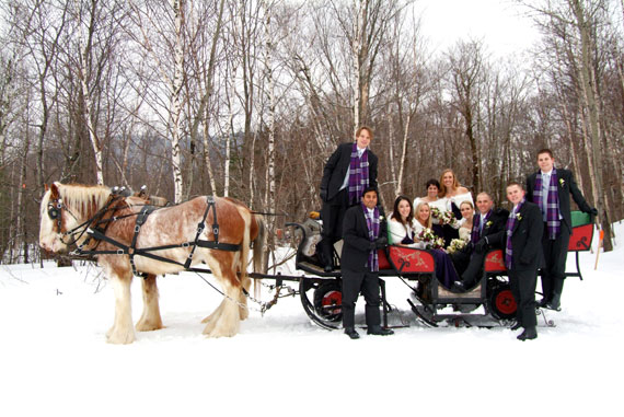 Winter Bridal Party in Sleigh