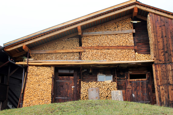 Swiss wood-pile facades