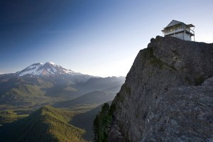 Sitting at 5,658 feet above sea level, High Rock fire lookout has unmatched 360 degree views of all the peaks in the Southern Cascade range, from Mount Rainier (pictured), to Mount Adams, Mount St. Helens, and even Mount Hood on clear days. The relatively short distance hike to High Rock (3.5 mile round trip), not far from Ashford, is a thigh burner. Gaining 1,400 feet in elevation in just under 2 miles, the trail leaves hikers gasping for oxygen, and second guessing the climb, but views at the top make all that sweat worth it.