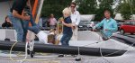 """Trampolin Springen bei der SL33 Taufe auf dem neuen Katamaran """"Black Jack"""". © Seba Reischl"""