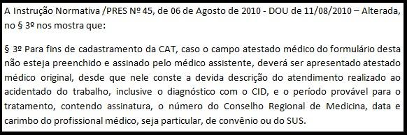 Atestado médico na CAT