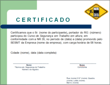 Certificado para treinamento de NR 35 – Download