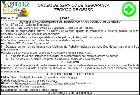 Ordem de Serviço Carpinteiro