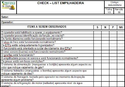 Check list Máquina de Solda