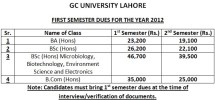 GCU Lahore first Semester Dues