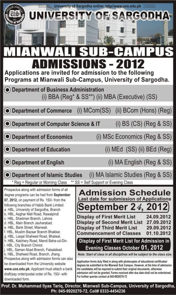University of Sargodha(UOS) Mianwali Campus Admissions 2012