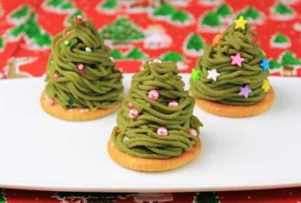 クリスマスシーズンの可愛いおやつ!抹茶モンブランのツリー