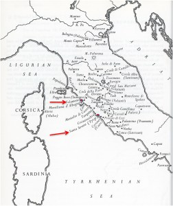 etruscan map of italy with sardinia and corsica