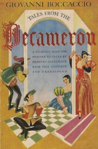 Decameron with two men and two women on a checkered green floor with writing.