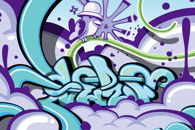 self selfuno graffiti style digital art illustration kangol bird character old school august 2009