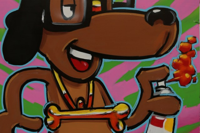 self uno selfuno character art spraypaint dog tiger stripe background close up may 2015