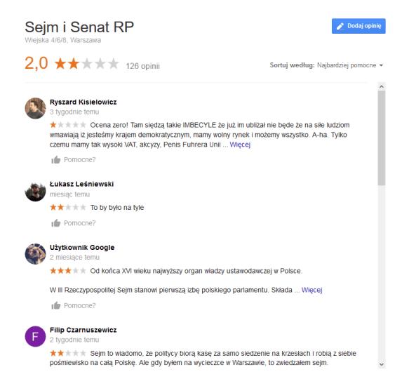 Opinie i Sejmie na Google Moja Firma