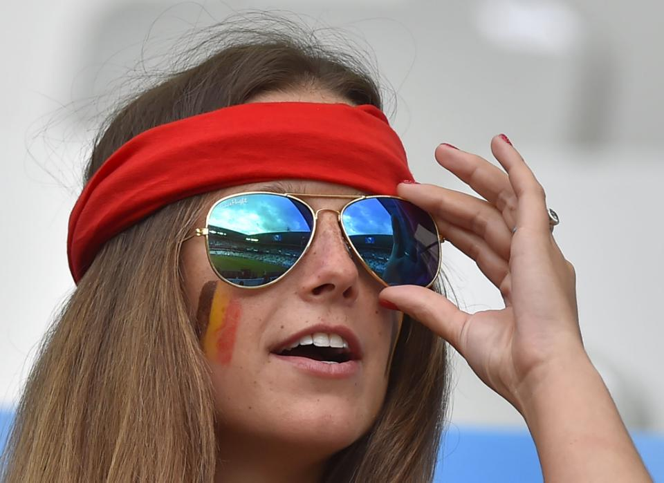 A Belgium supporter attends the Euro 2016 group E football match between Belgium and Ireland at the Matmut Atlantique stadium in Bordeaux on June 18, 2016. / AFP PHOTO / LOIC VENANCE
